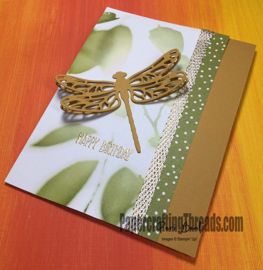 Stampin'Up! Dragonfly Dreams, #papercraftingthreads, #peribeal, Occasions Catalog 2017, happy birthday card, handstamped,